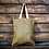natural / green jute tote bag with christian faux leather patch