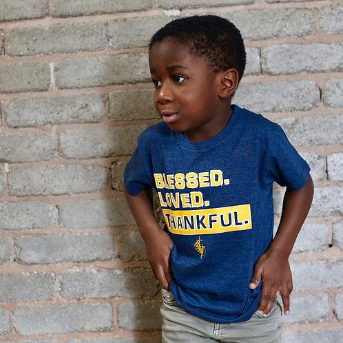 christian childrens thankful t-shirt in denim