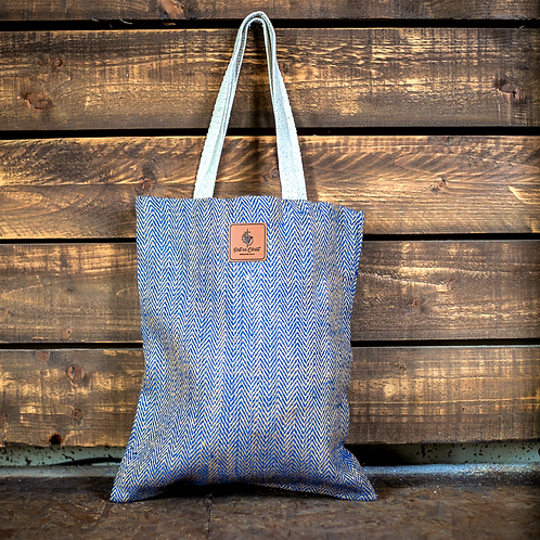 jute tote bag with faux leather patch put on christ