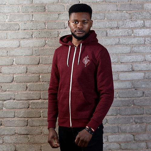 mens dark red christian zip hoodie crucifix logo