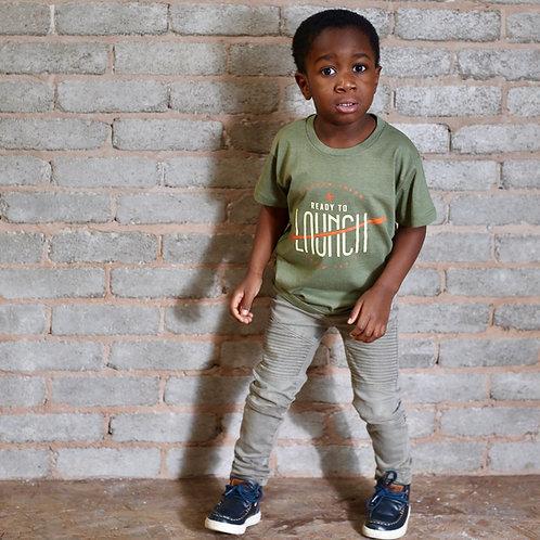 child wearing khaki christian slogan t-shirt Psalm 127