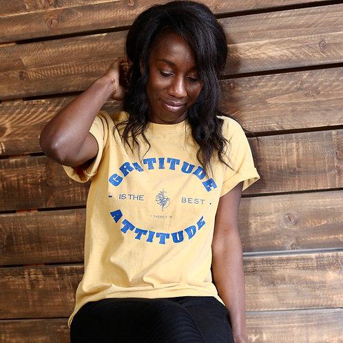 womens mustard gratitude is the best attitude t-shirt
