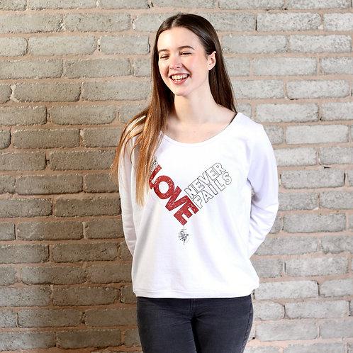 womens christian love sweatshirt in white