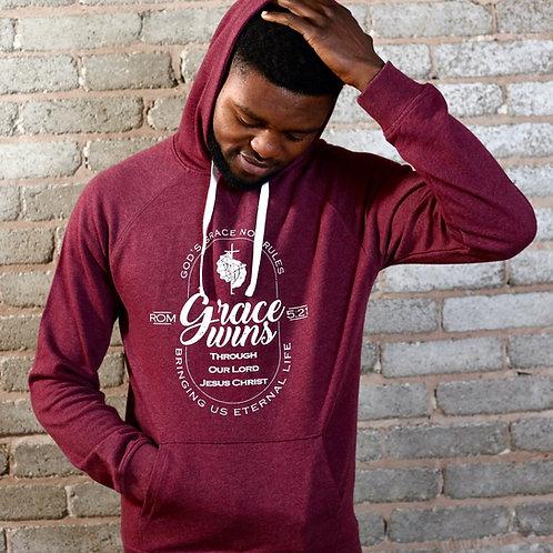 man wearing unisex burgundy pullover scripture hoodie