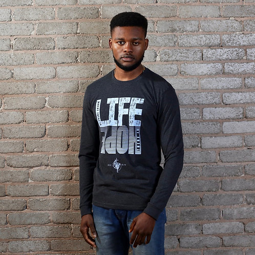 mens long sleeve charcoal life hope scripture tee