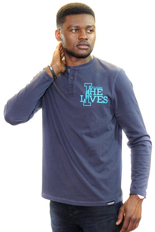 'Because He Lives' Henley T-shirt