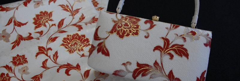 赤珊瑚金彩 フォーマルバッグ