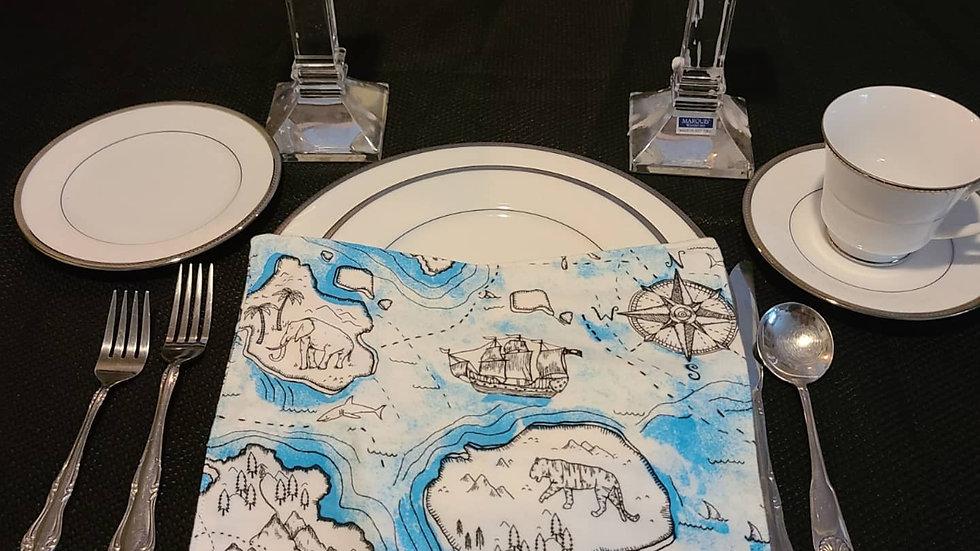 Ocean Map Themed Dinner Napkin - 6 pack