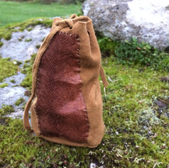 Fishskin panel on a braintan buckskin bag