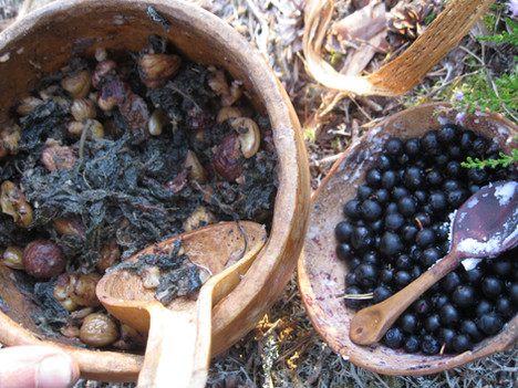 A wild feast, sweet chestnuts and nettles in fat, with freshly picked blueberries