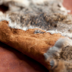 Luxuriously soft bark tanned rabbit skin