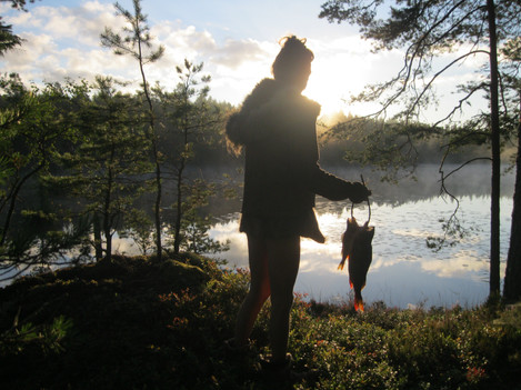 Fishing for our food at dawn in Sweden
