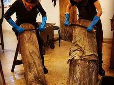 Scraping hides in the workshop  - very good to have an indoor heated space when its regularly below -5C