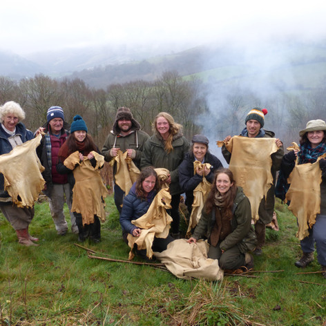 A drizzly April in Wales - but the buckskins still turned out beautifully, softened round the fire in the heather thatched tannery