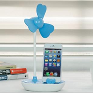 クローバーUSB 卓上ミニ扇風機 スマホスタンド付 USBと電池両用 5個