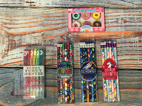 Pencils, Pens, and Erasers