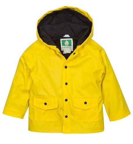Yellow & Black Lined Snap Up Rain Jacket