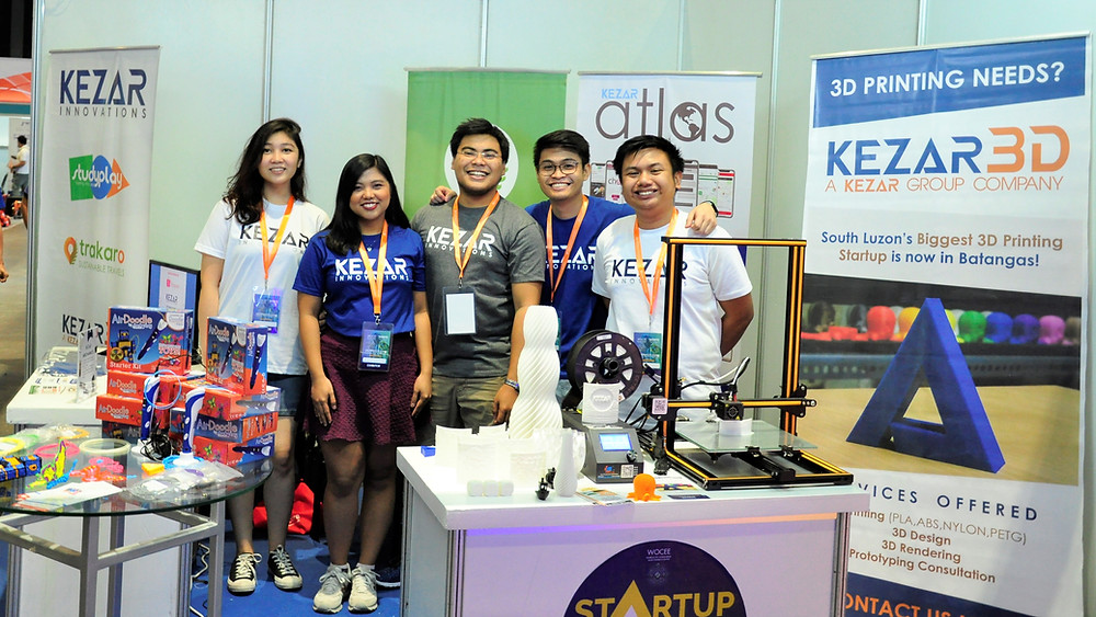 The Kezar Innovations team showcasing 3D printing technology at the WOCEE event at the World Trade Center