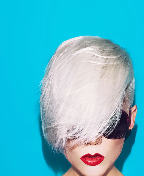 Fashion pixie hair cut white hair color female with sunglasses and red lipstick