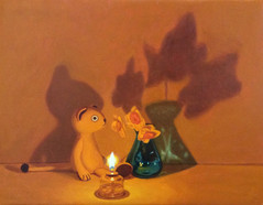 Sold Out Keigo Nakamura Cat, Candle, Bottle, Flower 2019 Oil on canvas 14 x 18 cm