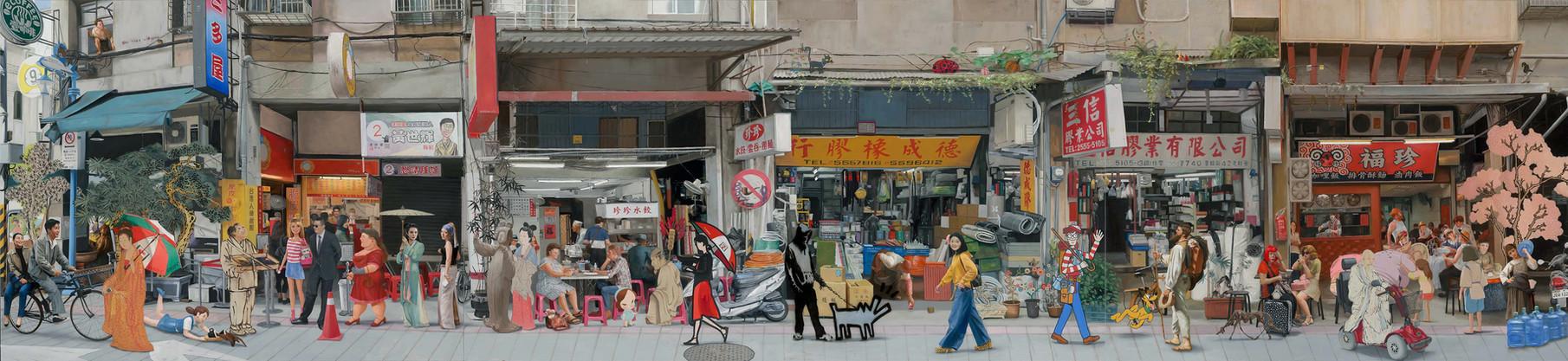 Kwon Neung Artistic Street (2), 2019 Oil on canvas 90 x 390 cm