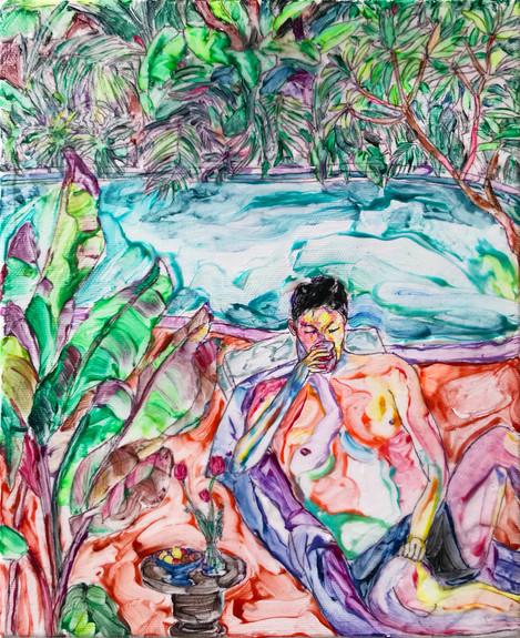 Sheng Chieh Wei Sunbath 2, 2021,  Acrylic on canvas, 27 x 22 cm