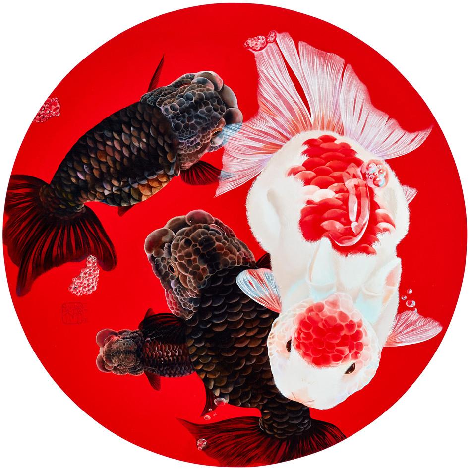 Fu Chun Tsai Little Pond, 2018 Acrylic on canvas Diameter 70 cm
