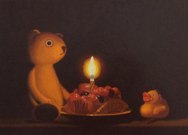 Keigo Nakamura Cat, Candle, Cake, Rubber Duck _ 2019 Oil on canvas, 24.4 x 33.4 cm