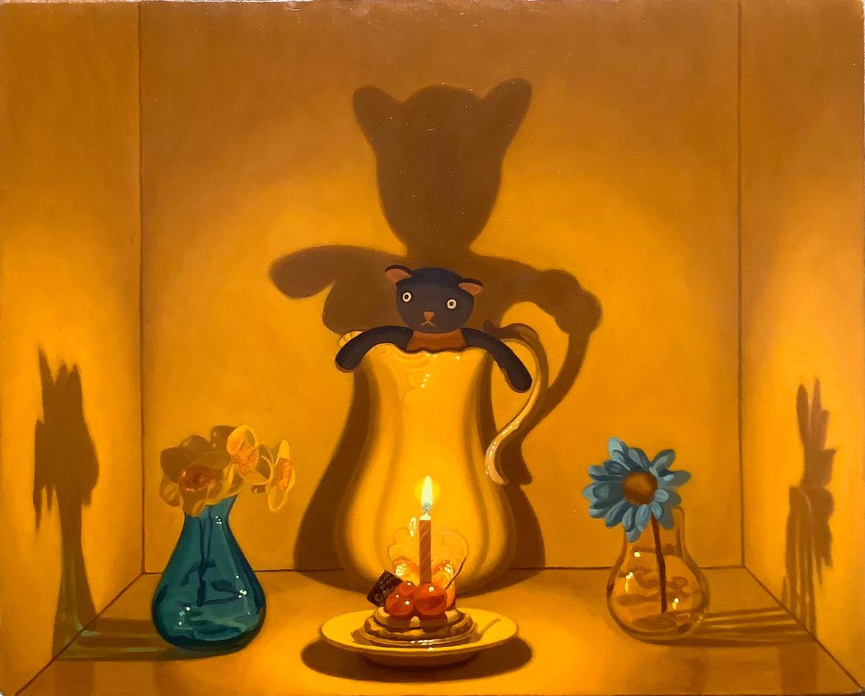 Keigo Nakamura Cat, Candle, Cake Flower, Vase_  2020 Oil on canvas, 22.3 x 27.6 cm