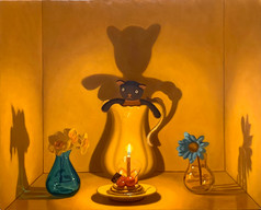 Sold Out Keigo Nakamura Cat, Candle, Cake, Flower, Vase 2020 Oil on canvas 22.3 x 27.6 cm