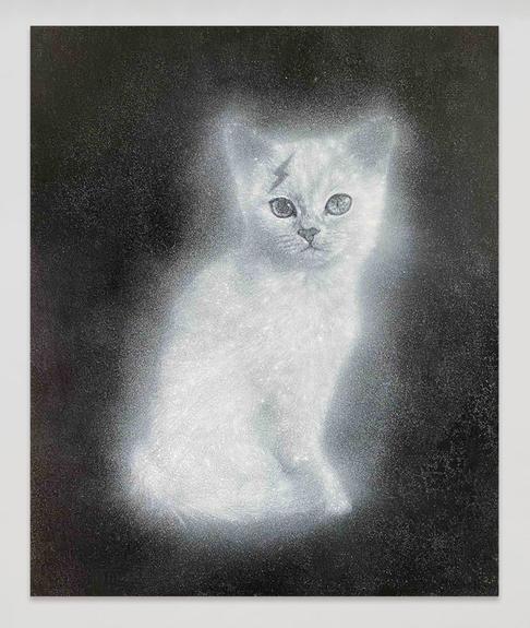 Ryan Su 思考的貓 The Thinking Cat, 2020,  Acrylic on canvas, 72.5 × 60.5 cm