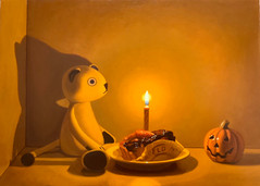 Keigo Nakamura Cat, Candle, Cake, Pumpkin 2020 Oil on canvas 24.5 x 33.5 cm