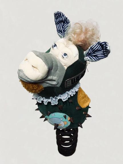 Astro Nuts Spring Pig 1, 2020, Textile,Cotton, Plastic Eyes, Metal, H63 x W26 x D28 cm