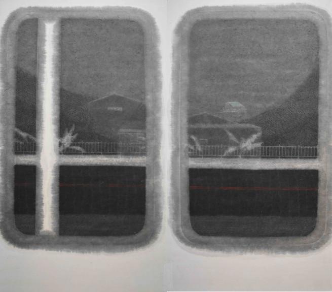 Min Yin Tsai 生活風景-消逝的黑夜, 2020,  Ink on Paper, 105 x 120 cm ( 2 pieces )