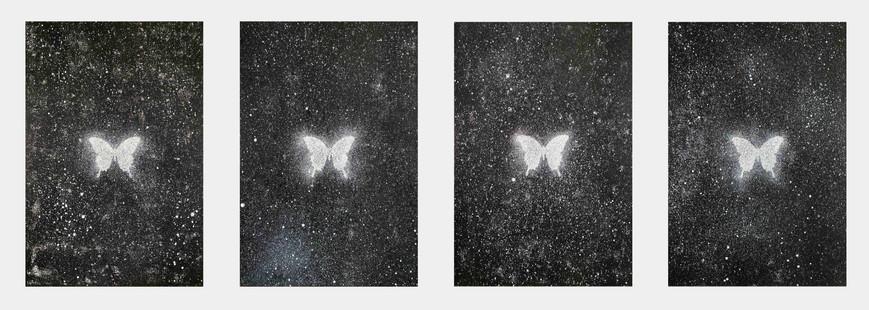 Ryan Su 無限蝴蝶-日/月/星/辰(Infinity Butterfly-Sun/Moon/Stars/Occasion), 2021,  Acrylic on canvas, each 60.5 × 41 cm