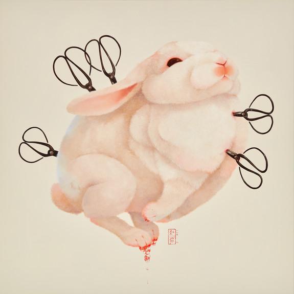 Fu Chun Tsai 剪刀兔No.9 (Scissorsrabbit No.9), 2020 Acrylic on canvas 90 x 90 cm