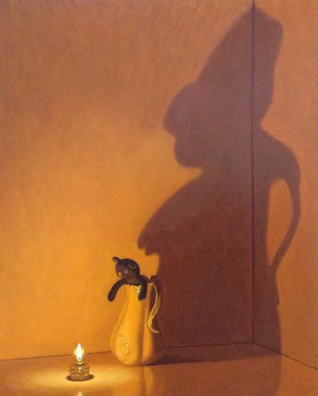 Keigo Nakamura Cat, Candle, Vase  2019 Oil on canvas, 27.4 x 22.2 cm