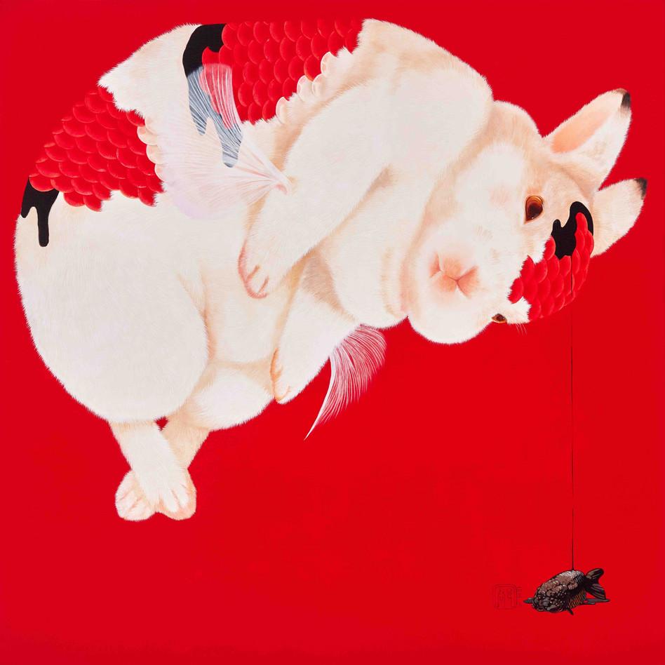 Fu Chun Tsai Infuse, 2016 Acrylic on canvas 90 x 90 cm