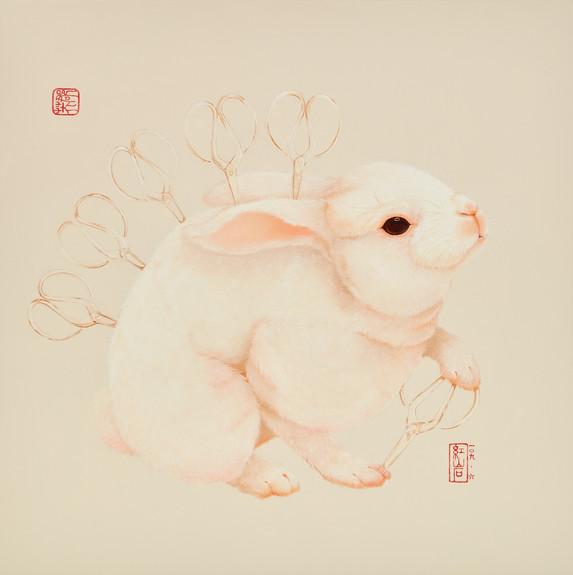 Fu Chun Tsai 剪刀兔No.5 (Scissorsrabbit No.5), 2020 Acrylic on canvas 70 x 70 cm