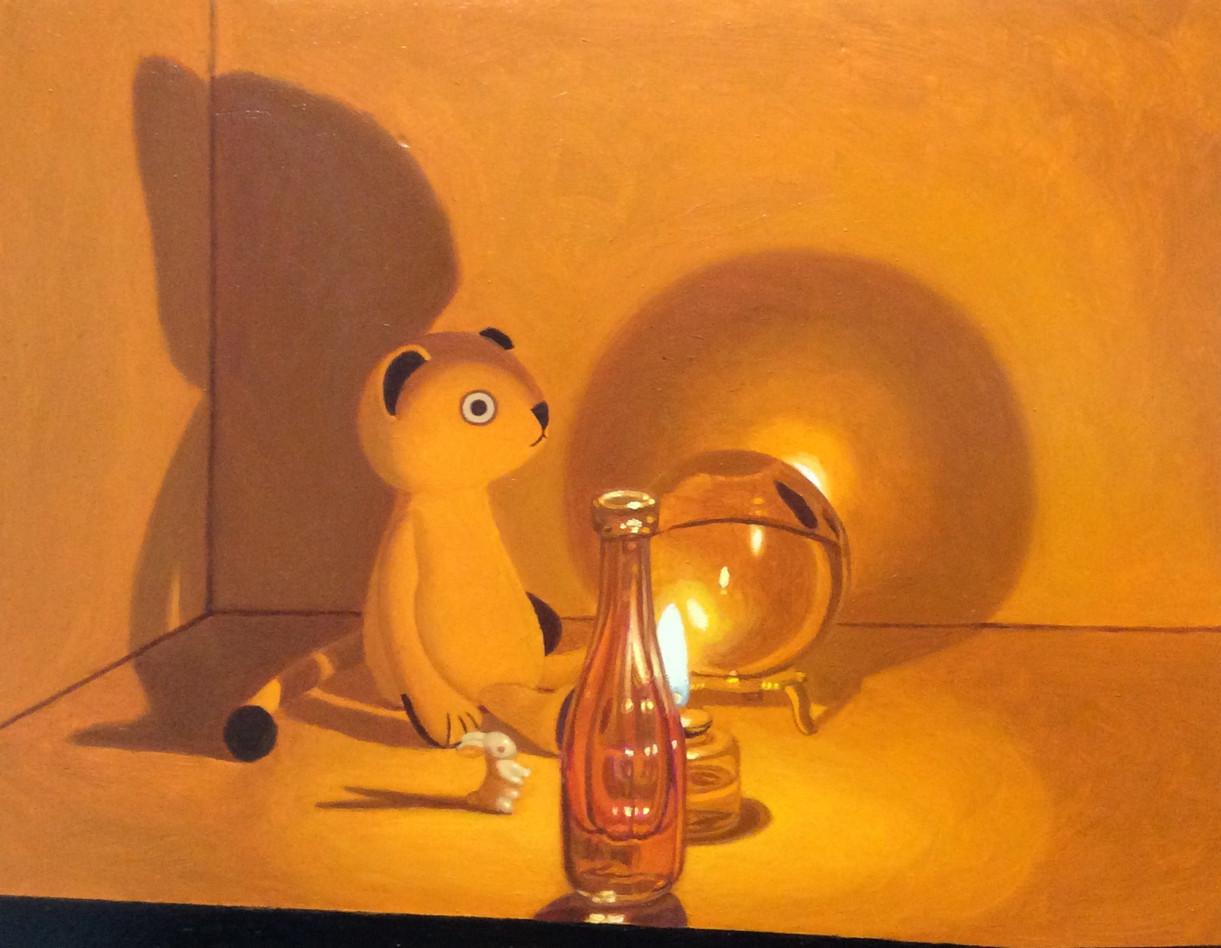 Keigo Nakamura Cat, Candle, Bottle, Metal Ball  Ceramic Rabbit _ 2019 Oil on canvas, 14 x 18 cm