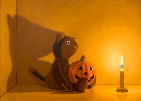 Sold Out Keigo Nakamura Cat, Candle, Pumpkin 2020 Oil on canvas 24.5 x 33.5 cm