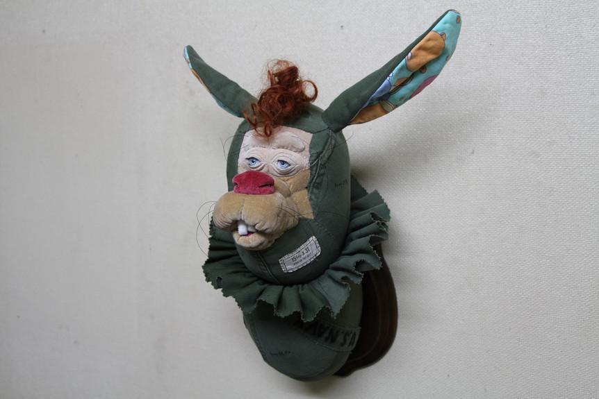Astro Nuts Army of Me (Rabbit), 2019, Textile,Cotton, Plastic Eyes, Wood, H43 x W32 x D27 cm