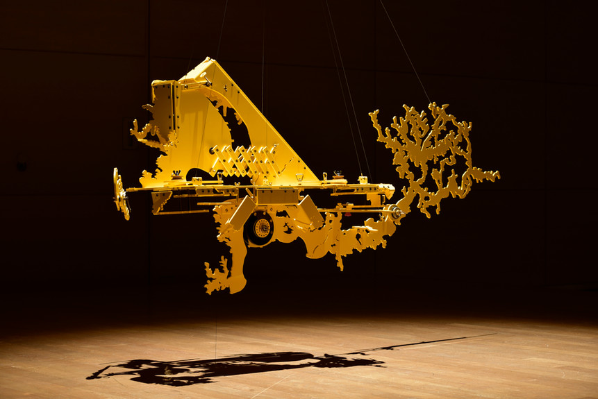 Kenichiro Taniguchi Hecomi Study for Taipei City #3 2016 Compressed PVC, Brass, Steel, Hinges, Rotatable devices W194 x H80 x D60 cm