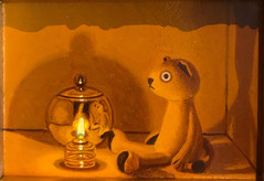 Sold Out Keigo Nakamura Cat, Candle, Metal Bowl 2019 Oil on canvas 6 x 8 cm