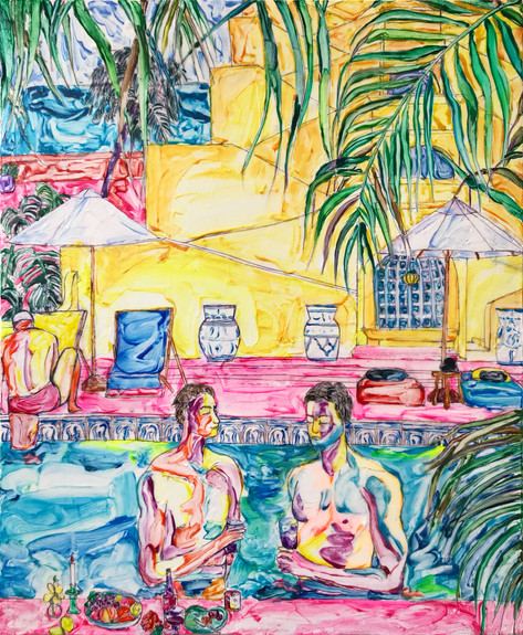 Sheng Chieh Wei Relax by the Pool, 2021,  Acrylic on canvas, 45.5 x 38 cm
