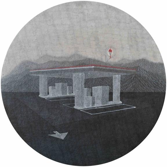 Min Yin Tsai 加油站, 2017,  Ink on Paper, Diameter 30 cm