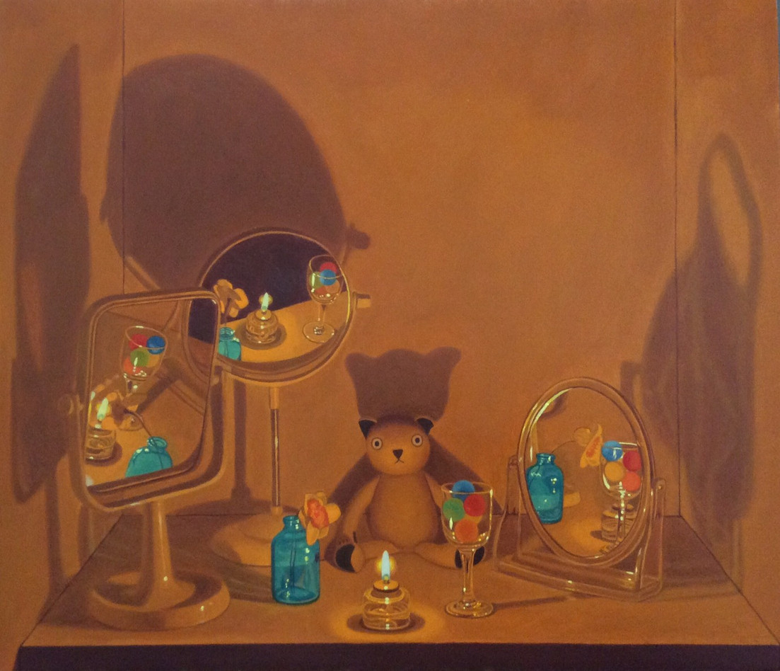 Keigo Nakamura Cat, Candle, Mirror, Flower, Candy, Bottle, Goblet _2019 Oil on canvas, 45.7 x 5 cm