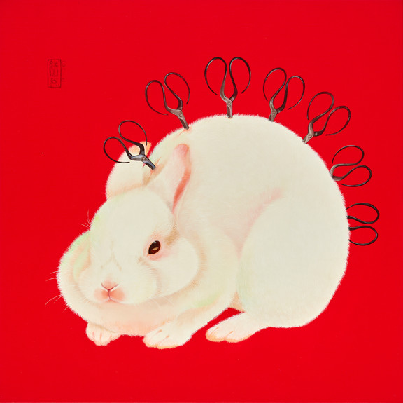 Fu Chun Tsai 剪刀兔No.2 (Scissorsrabbit No.2), 2020 Acrylic on canvas 70 x 70 cm