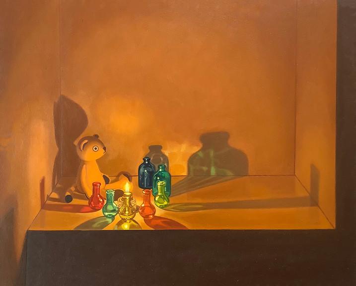 Keigo Nakamura Art & Identity,Existence In Capitalist's Society,  2021 Oil on canvas, 22.2 x 27.6 cm