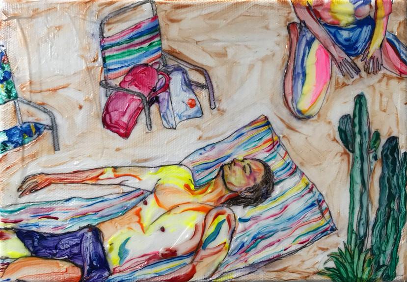 Sheng Chieh Wei Sunbath 3, 2021,  Acrylic on canvas, 15.5 x 22.5 cm